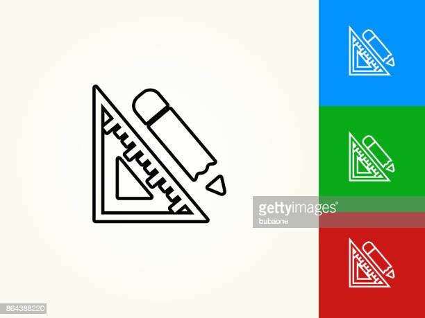 protractor and pencil black stroke linear icon - protractor stock illustrations, clip art, cartoons, & icons