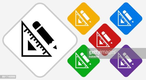 protractor and pencil color diamond vector icon - protractor stock illustrations, clip art, cartoons, & icons