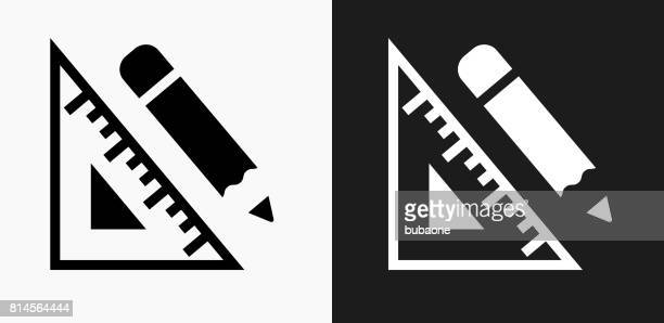 protractor and pencil icon on black and white vector backgrounds - protractor stock illustrations, clip art, cartoons, & icons