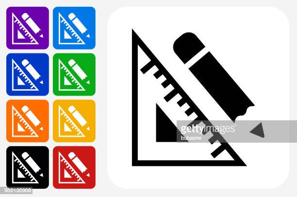 protractor and pencil icon square button set - protractor stock illustrations, clip art, cartoons, & icons