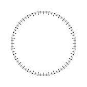 Protractor blank. Full circle. Vector design element.