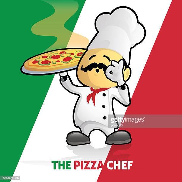 ilustrações de stock, clip art, desenhos animados e ícones de pizza chef orgulhoso da bandeira italiana - pizzaria