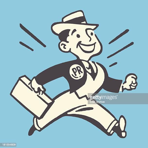 proud pr man with briefcase - salesman stock illustrations