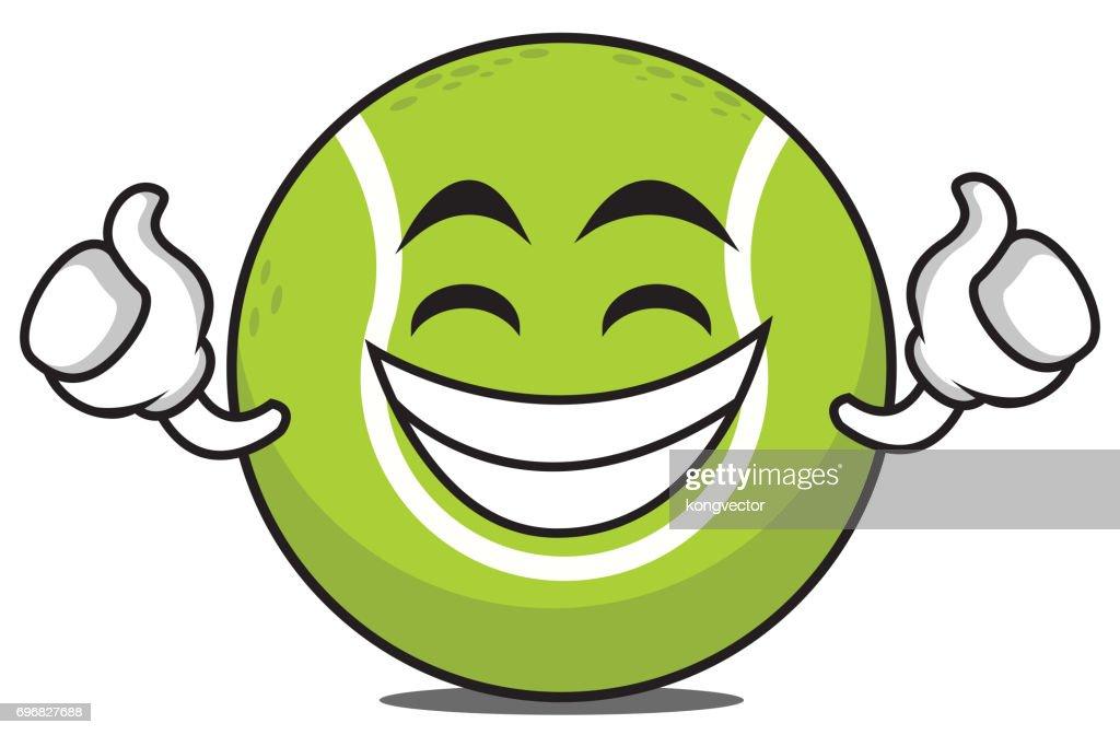 Proud tennis ball cartoon character vector art