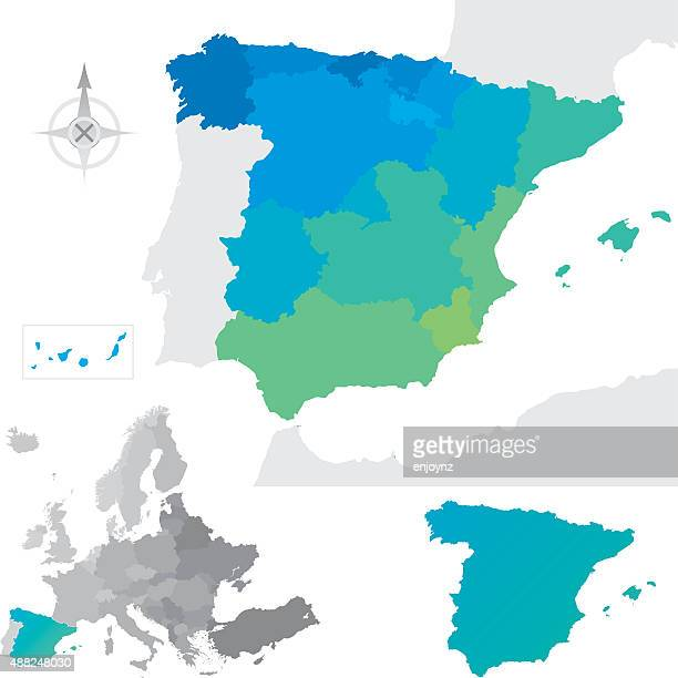 provinces and communities of spain - en búsqueda stock illustrations