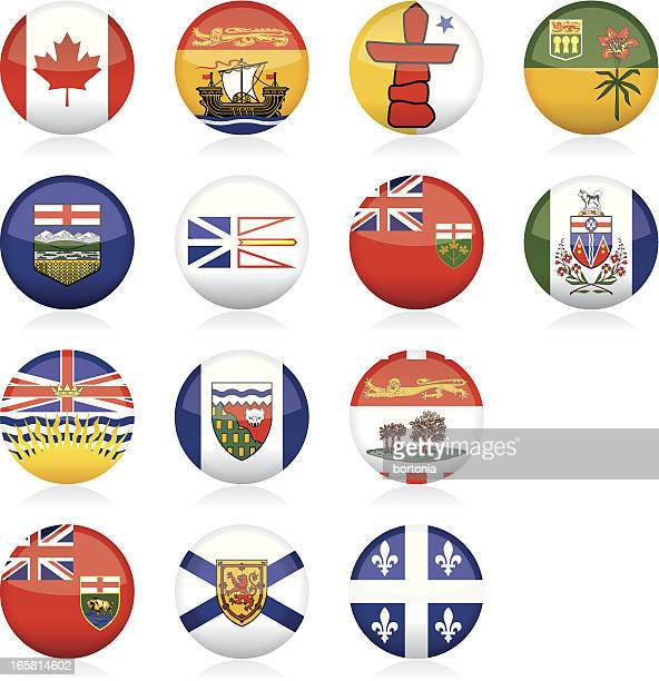 provincial flags of canada: glossy buttons - traditionally canadian stock illustrations