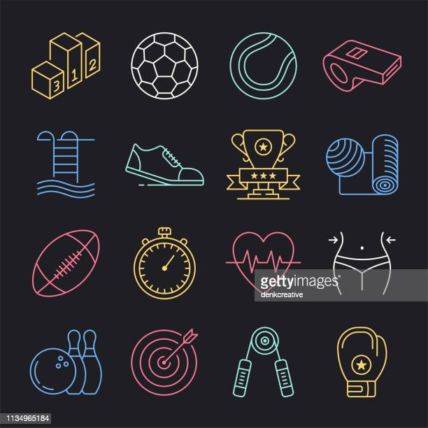 Organisations sportives provinciales Neon style Vector Icon Set
