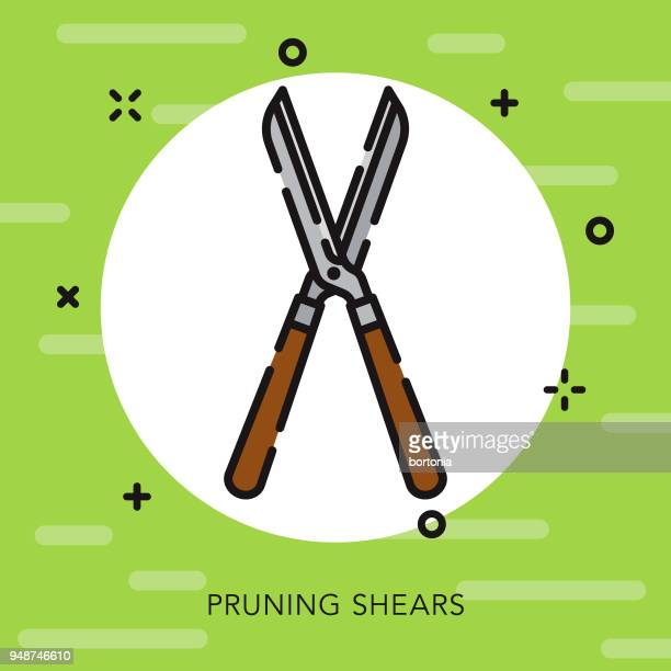 pruning shears open outline gardening icon - pruning shears stock illustrations, clip art, cartoons, & icons
