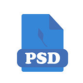 Psd icon vector sign and symbol isolated on white background, Psd logo concept