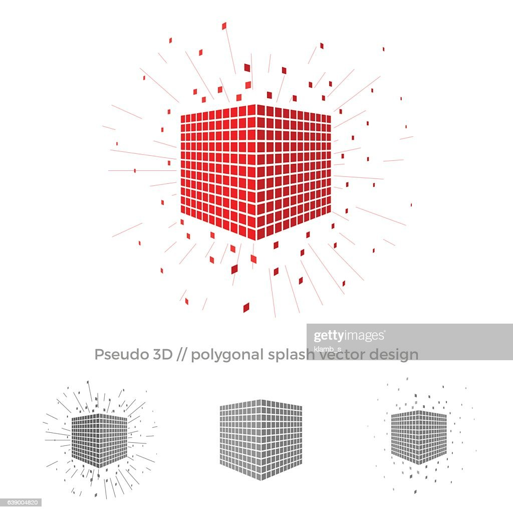 Pseudo 3d vector cube illustration with splash surrounding