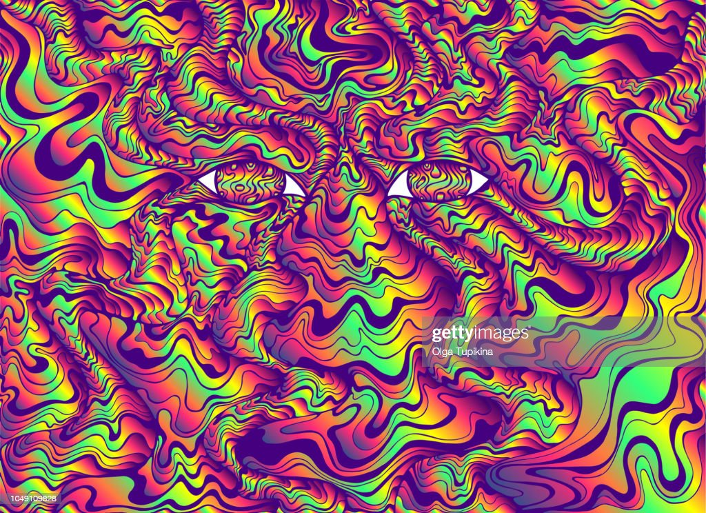 Psychedelic alien eyes with waves. Bright gradient colors. Fanta