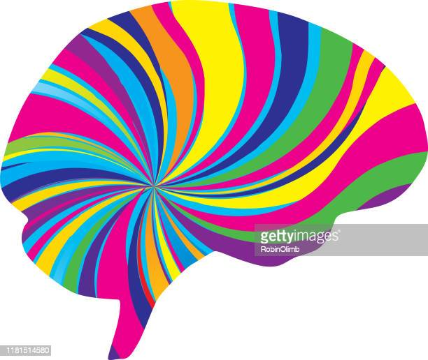 psychedelic brain icon - lsd stock illustrations