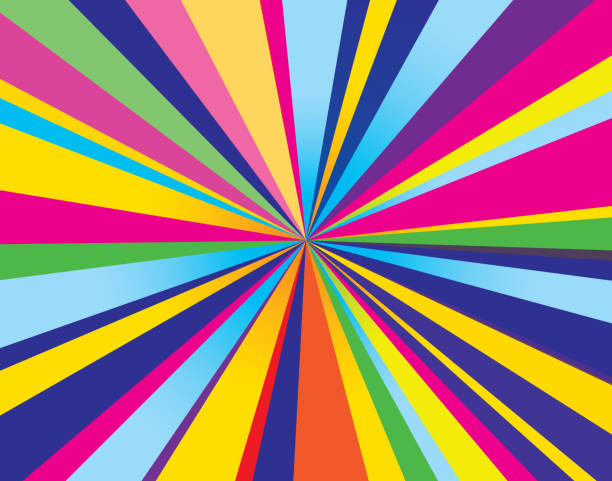 psychedelic burst background - rainbow stock illustrations