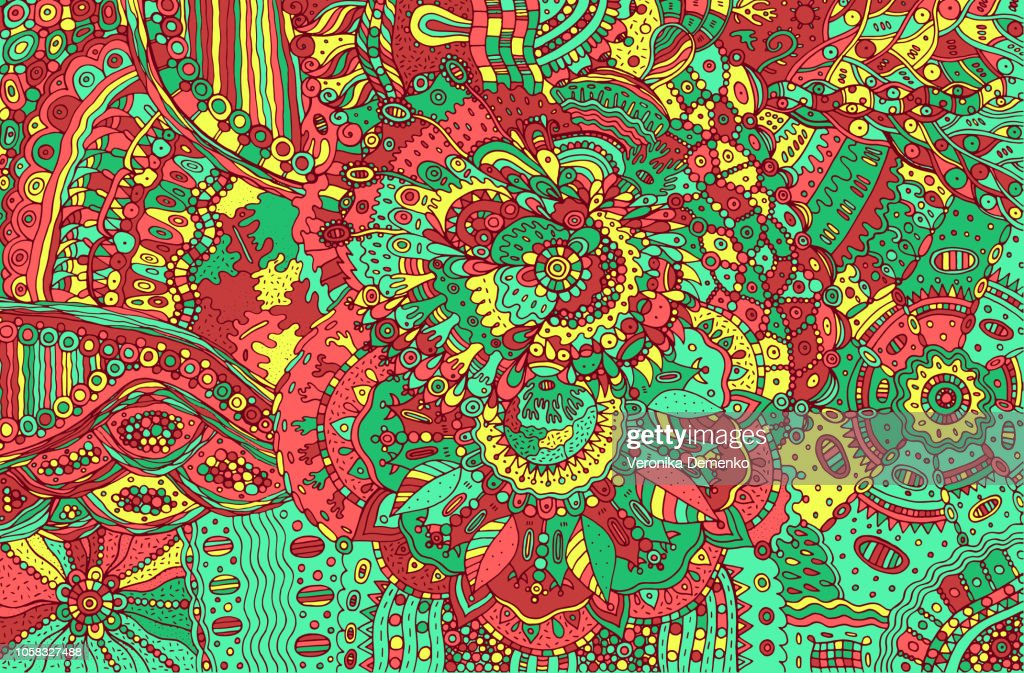 Psychedelic colorful doodle background. Hand drawn pattern with
