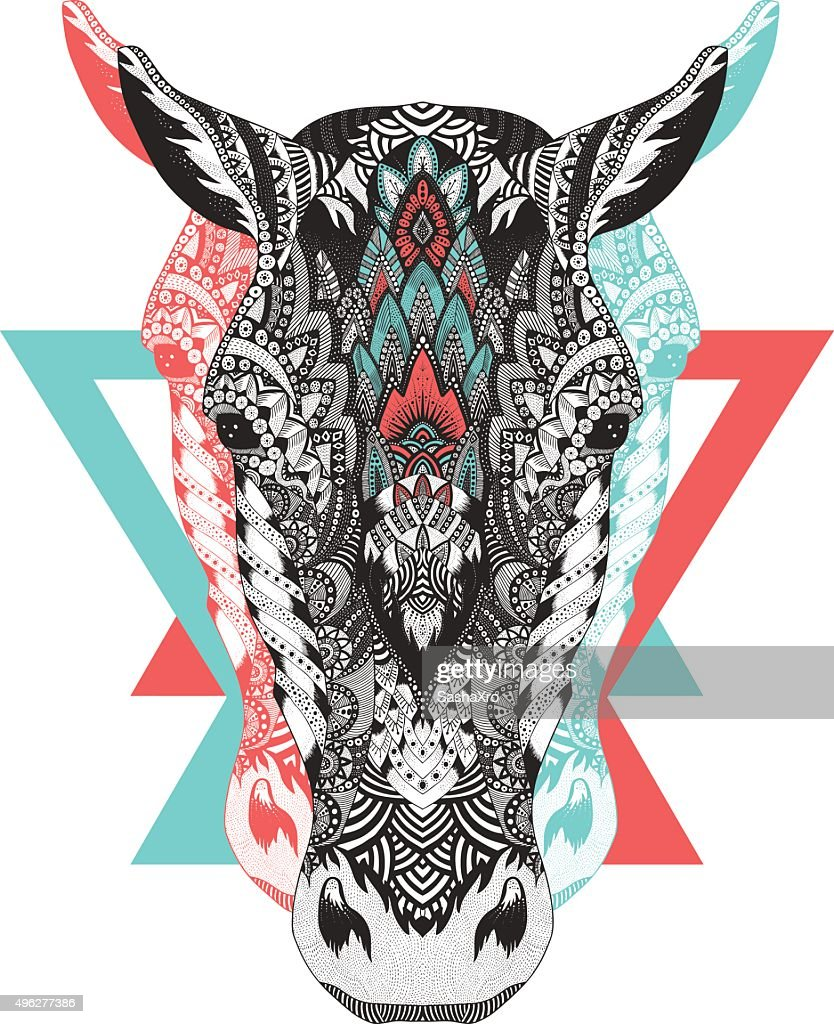 Psychedelic ethno style horse portrait