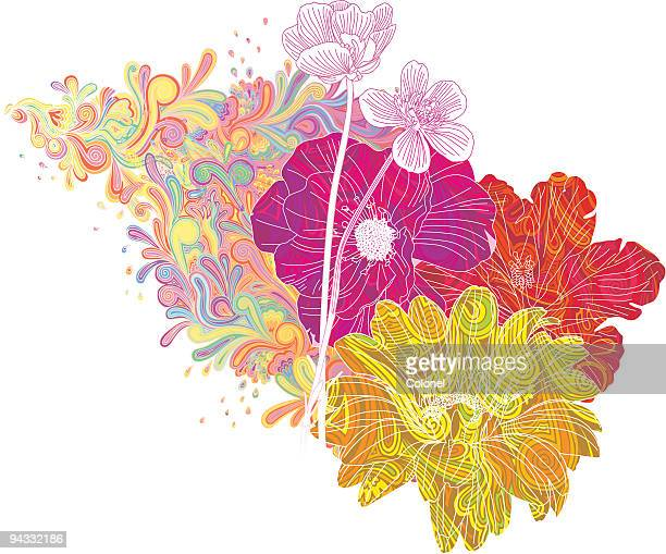 psychedelic flowers - gerbera daisy stock illustrations, clip art, cartoons, & icons