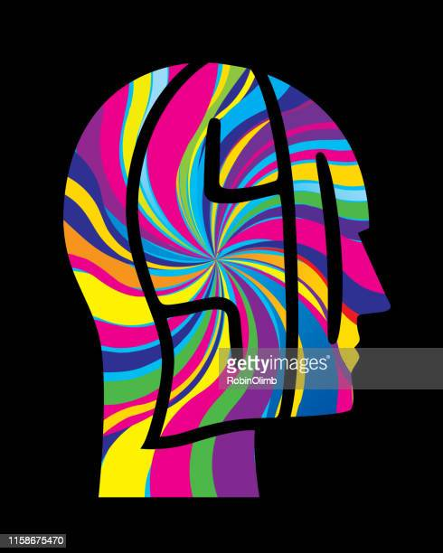psychedelic head icon - lsd stock illustrations