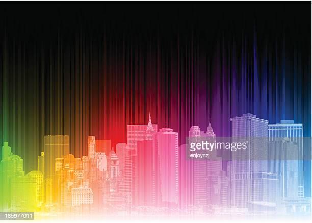 ilustrações, clipart, desenhos animados e ícones de psicodélico cidade de nova york - spire