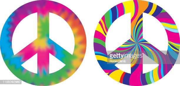 psychedelic peace signs - symbols of peace stock illustrations