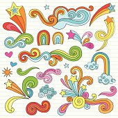 Psychedelic Stars and Swirls Notebook Doodles Vector Set