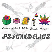 Psychedelics set. Hand drawn elements.