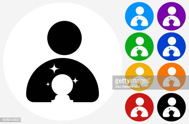 Psychic and Crystal Ball Icon on Flat Color Circle Buttons