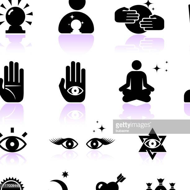 psychic fortune teller black and white vector icon set - tarot cards stock illustrations, clip art, cartoons, & icons