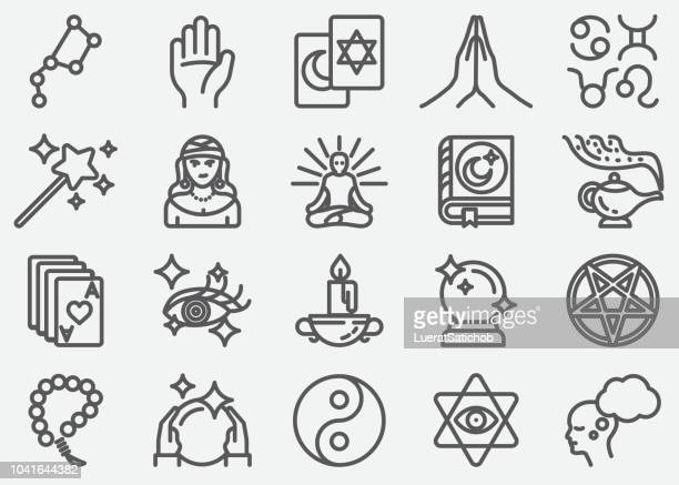 psychic fortune teller line icons - fate stock illustrations