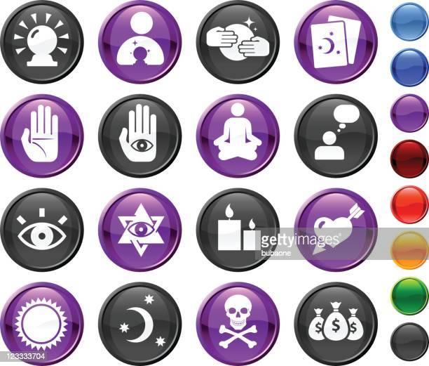 psychic adivino dieciséis conjunto de iconos vectoriales sin royalties