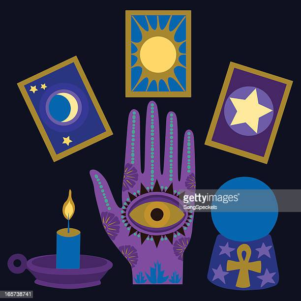 psychic palm reader elements - fate stock illustrations