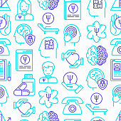 Psychologist seamless pattern with thin line icons: psychiatrist, disease history, armchair, pendulum, antidepressants, psychological support. Vector illustration.