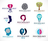 Psychology, brain and mental health vector conceptual icons set. Relationship and gender psychology problems and conflicts, psychoanalysis and psychotherapy, personality and individuality.