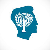 Psychology concept vector icon created with Greek Psi symbol as a tree with leaves inside of man face profile, mental health concept, psychoanalysis analysis and psychotherapy.