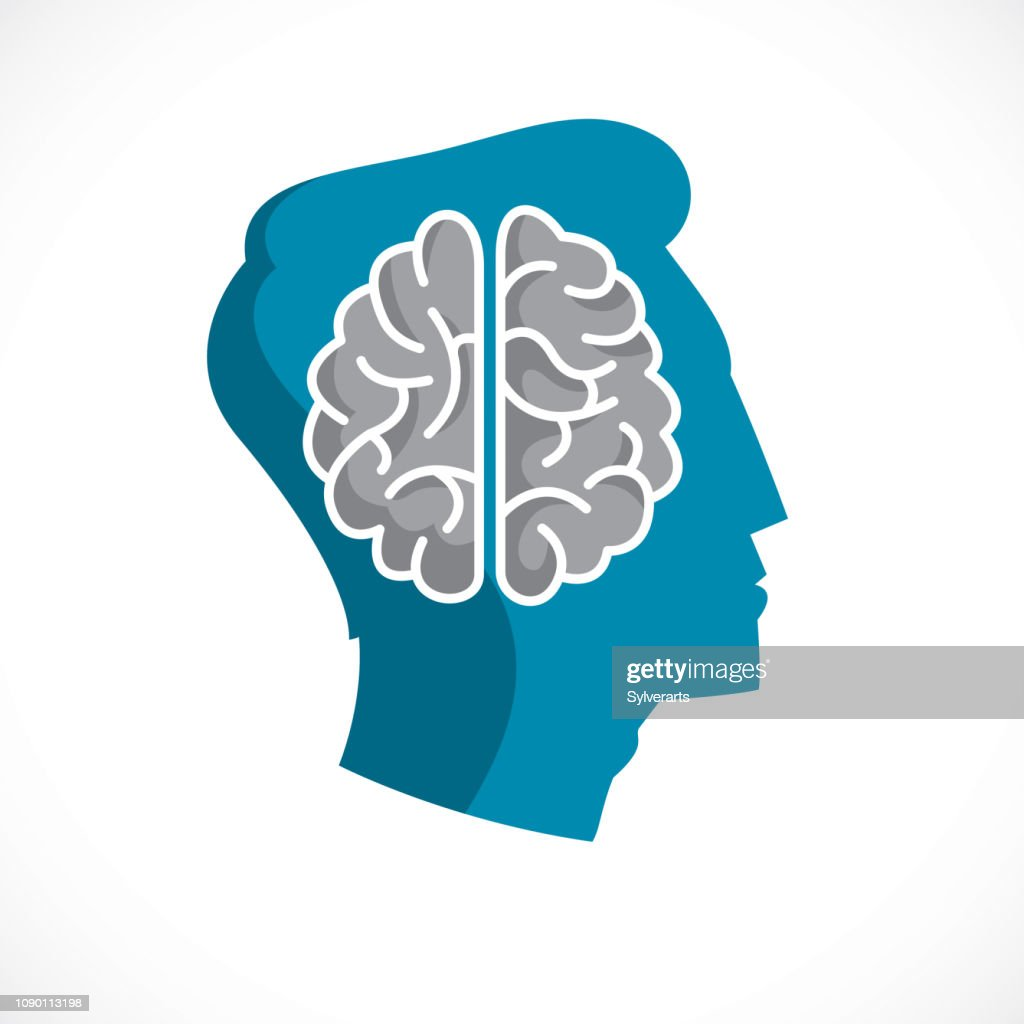 Psychology concept vector icon created with human anatomical brain inside of man face profile, mental health concept, psychoanalysis analysis and psychotherapy.