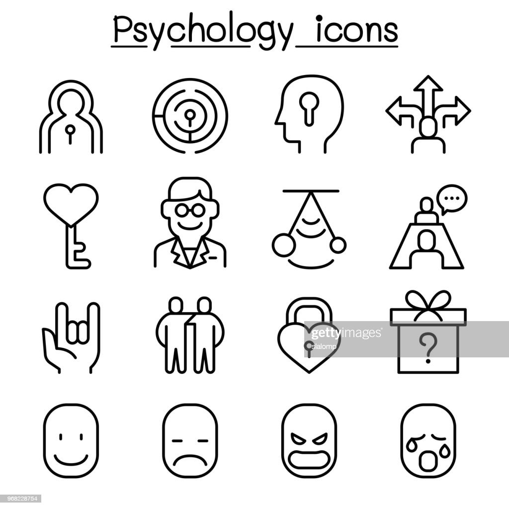 Psychology icon set in thin line style