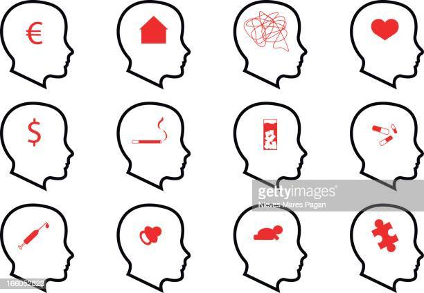 psychology icons - alternative therapy stock illustrations, clip art, cartoons, & icons