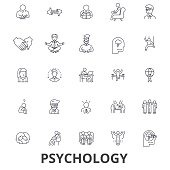 Psychology, psychologist, counseling, test, therapy, brain, sociology, mind line icons. Editable strokes. Flat design vector illustration symbol concept. Linear signs isolated
