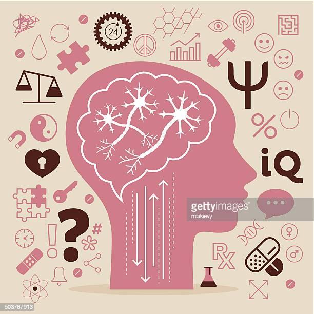stockillustraties, clipart, cartoons en iconen met psychology symbols - bewustwording over geestelijke gezondheid