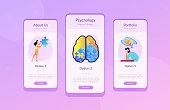 Psychotherapy and psychology app interface template.