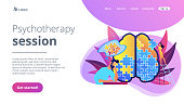 Psychotherapy session landing page vector illustration.