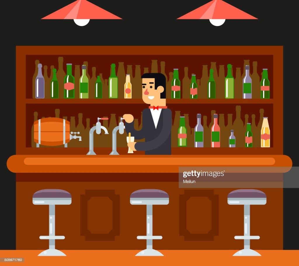 Pub Bar Restaurant Cafe Barkeeper Character Symbol Alcohol Beer House