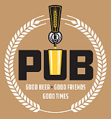 Pub Craft Beer Vector Design.