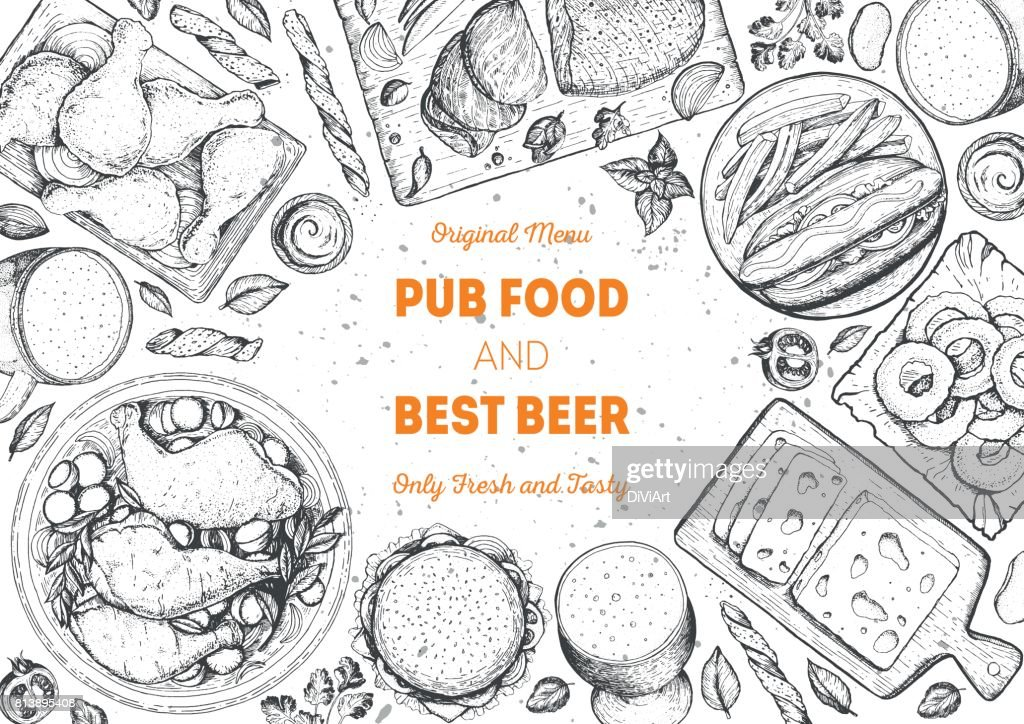Pub food frame vector illustration. Beer, meat, fast food and snacks hand drawn. Food set for pub design top view. Vintage engraved illustration for beer restaurant for beer restaurant.