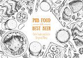 Pub food frame vector illustration. Beer, meat, fast food and snacks hand drawn. Food set for pub design top view. Vintage engraved illustration for beer restaurant.