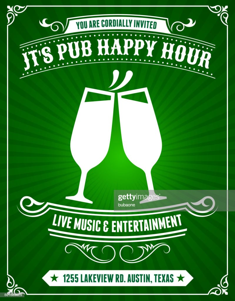 Pub Happy Hour Poster on Green Background