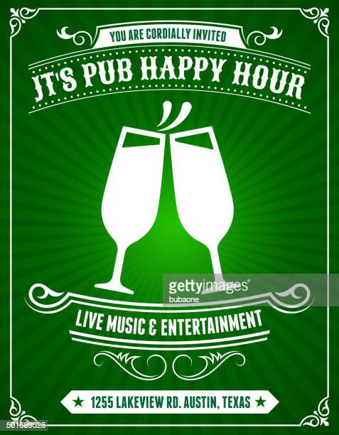 pub happy hour poster on green background - happy hour stock illustrations, clip art, cartoons, & icons