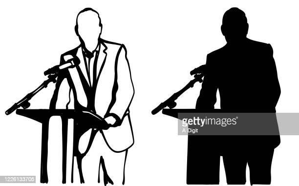 öffentliche ansprache politiker silhouette - präsentation rede stock-grafiken, -clipart, -cartoons und -symbole