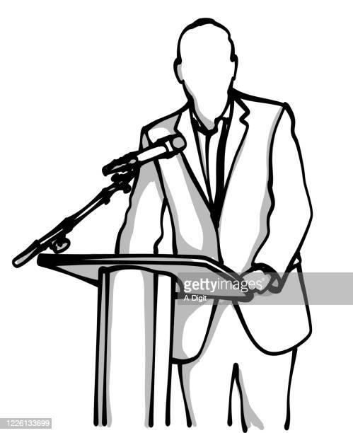 illustrations, cliparts, dessins animés et icônes de politicien d'adresse publique - pupitre