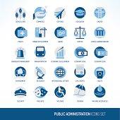 Public administration icons set