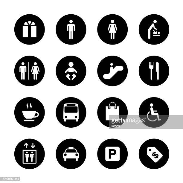 Public and Shopping Mall Circle Icons Set